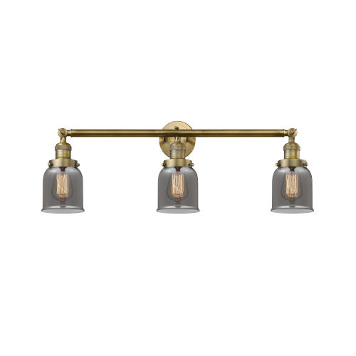 Small Bell Brushed Brass Three-Light Bath Vanity with Smoked Glass
