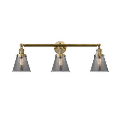 Small Cone Brushed Brass Three-Light LED Bath Vanity with Smoked Glass