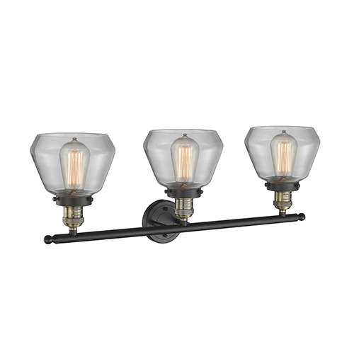 Innovations Lighting Fulton Black Brushed Brass Three-Light LED Bath Vanity with Clear Sphere Glass