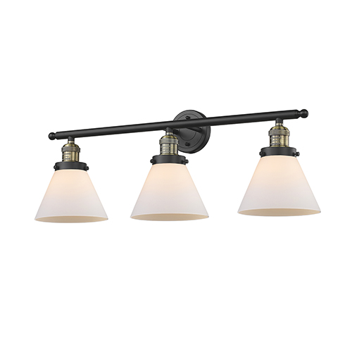 Innovations Lighting Large Cone Black Brushed Brass Three-Light Bath Vanity with Matte White Cased Cone Glass