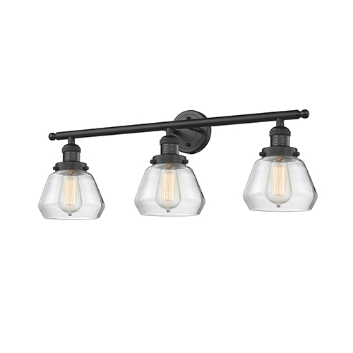 Innovations Lighting Fulton Black 30-Inch Three-Light Bath Vanity with Clear Sphere Glass
