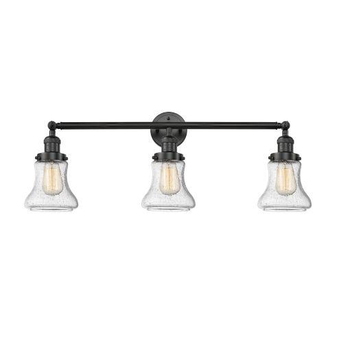 Innovations Lighting Bellmont Black 30-Inch Three-Light Bath Vanity with Seedy Hourglass Glass