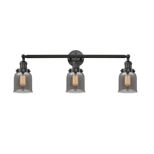 Small Bell Black 30-Inch Three-Light Bath Vanity with Smoked Bell Glass