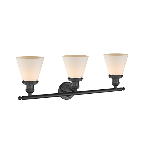 Innovations Lighting Small Cone Black 30-Inch Three-Light Bath Vanity with Matte White Cased Cone Glass