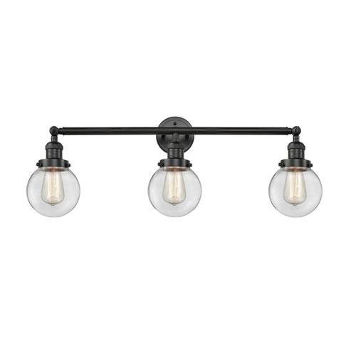 Beacon Matte Black Three-Light Bath Vanity with Six-Inch Clear Globe Glass