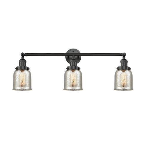 Small Bell Matte Black Three-Light Adjustable Bath Vanity