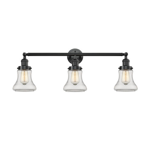 Innovations Lighting Bellmont Oiled Rubbed Bronze 30-Inch Three-Light Bath Vanity with Clear Hourglass Glass