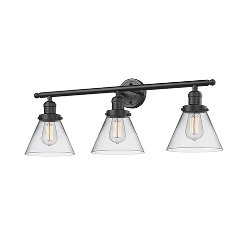 Innovations Lighting Large Cone Oiled Rubbed Bronze 32-Inch Three-Light Bath Vanity with Clear Cone Glass
