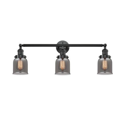 Small Bell Oiled Rubbed Bronze 30-Inch Three-Light Bath Vanity with Smoked Bell Glass