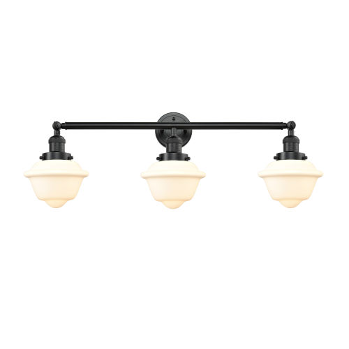Franklin Restoration Oil Rubbed Bronze 34-Inch Three-Light Bath Vanity with Matte White Glass Shade