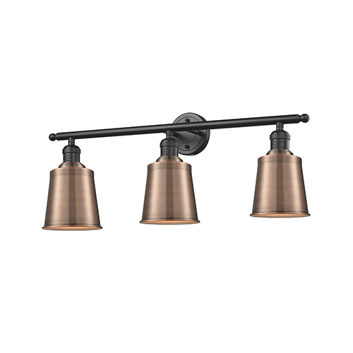 Innovations Lighting Addison Oiled Rubbed Bronze Three-Light Bath Vanity with Antique Copper Metal Shade