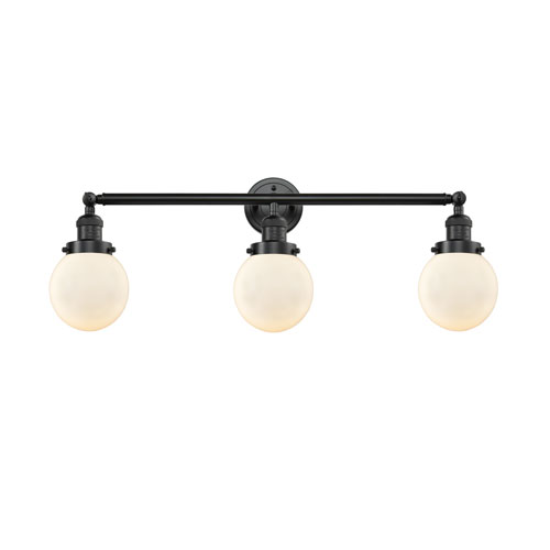 Innovations Lighting Beacon Oil Rubbed Bronze Three-Light Bath Vanity with Six-Inch Matte White Cased Globe Glass