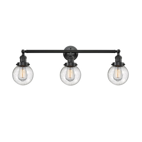 Innovations Lighting Beacon Oil Rubbed Bronze Three-Light Bath Vanity with Six-Inch Seedy Globe Glass