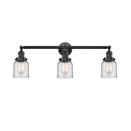 Innovations Lighting Small Bell Oiled Rubbed Bronze Three-Light Reversible Bath Vanity with Clear Bell Glass