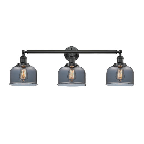 Large Bell Oil Rubbed Bronze Three-Light Bath Vanity with Smoked Glass