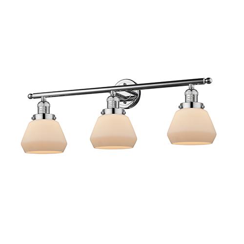Innovations Lighting Fulton Polished Chrome Three-Light Bath Vanity with Matte White Cased Sphere Glass