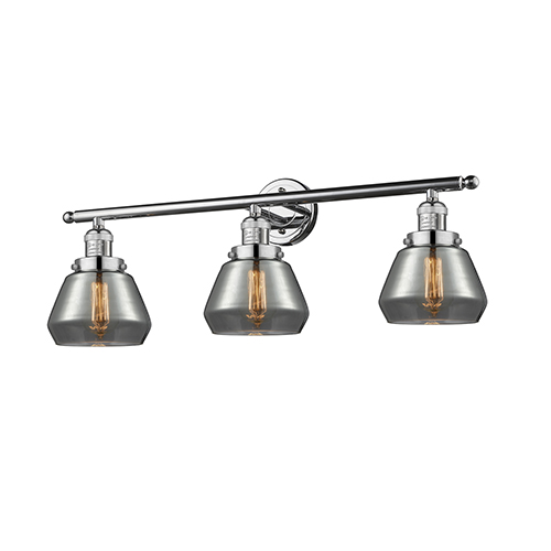 Innovations Lighting Fulton Polished Chrome Three-Light Bath Vanity with Smoked Sphere Glass