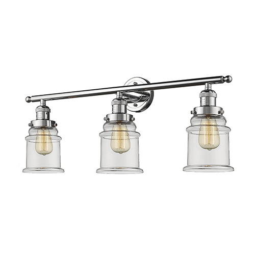 Innovations Lighting Canton Polished Chrome Three-Light Bath Vanity with Clear Bell Glass
