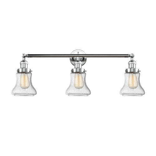 Innovations Lighting Bellmont Polished Chrome Three-Light Bath Vanity with Seedy Hourglass Glass