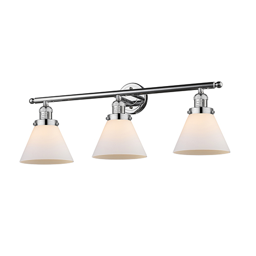 Innovations Lighting Large Cone Polished Chrome Three-Light LED Bath Vanity with Matte White Cased Cone Glass