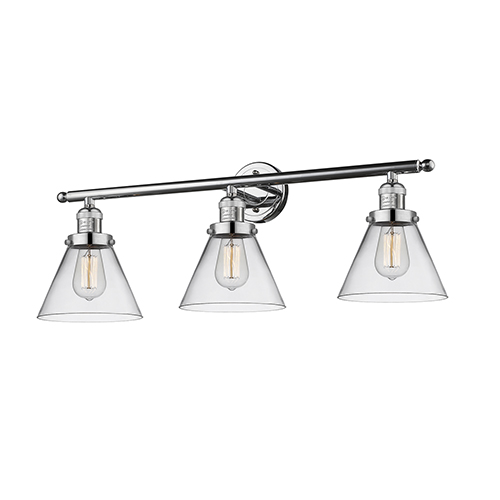 Innovations Lighting Large Cone Polished Chrome Three-Light LED Bath Vanity with Clear Cone Glass