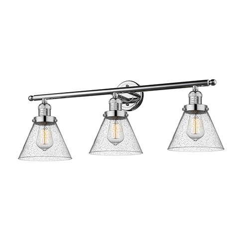 Innovations Lighting Large Cone Polished Chrome Three-Light Bath Vanity with Seedy Cone Glass