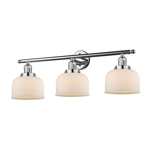 Large Bell Polished Chrome Three-Light LED Bath Vanity with Matte White Cased Dome Glass