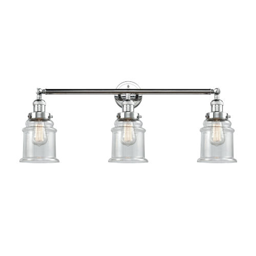 Canton Polished Chrome Three-Light Bath Vanity with Clear Glass