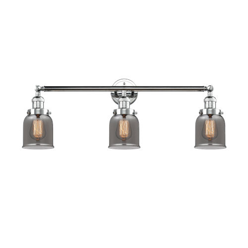 Small Bell Polished Chrome Three-Light Bath Vanity with Smoked Glass
