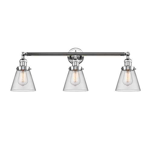 Innovations Lighting Small Cone Polished Chrome Three-Light Reversible Bath Vanity with Clear Cone Glass