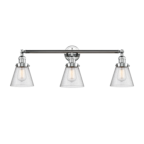 Innovations Lighting Small Cone Polished Chrome Three-Light Reversible Bath Vanity with Seedy Cone Glass