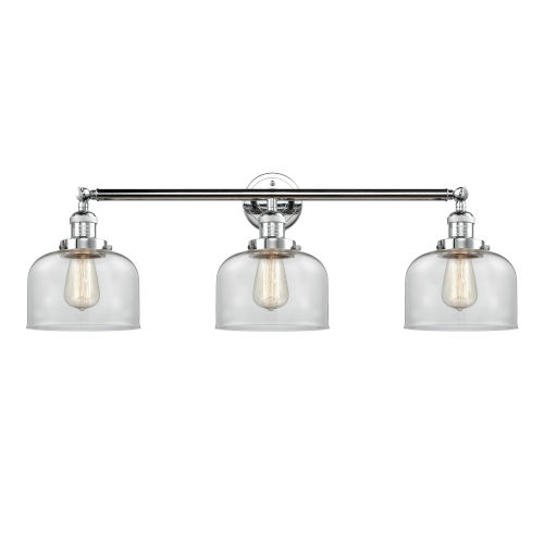 Large Bell Polished Chrome Three-Light Bath Vanity with Clear Glass