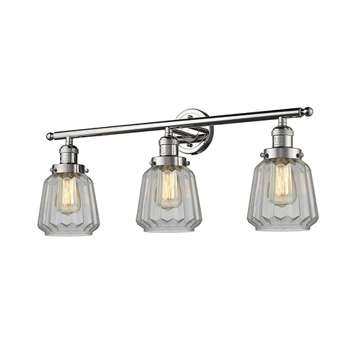 Innovations Lighting Chatham Polished Nickel Three-Light Bath Vanity with Clear Fluted Novelty Glass