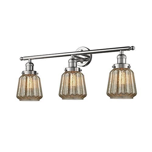 Innovations Lighting Chatham Polished Nickel Three-Light Bath Vanity with Mercury Fluted Novelty Glass
