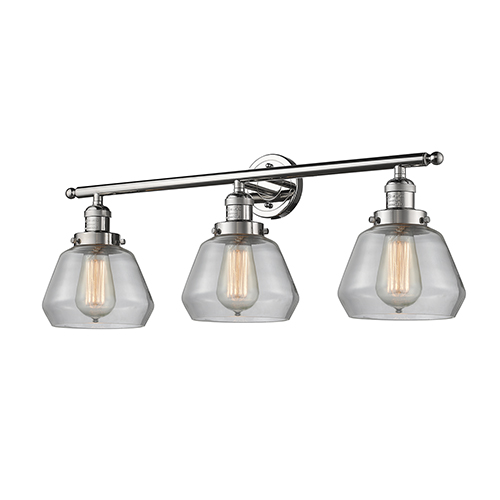Innovations Lighting Fulton Polished Nickel Three-Light Bath Vanity with Clear Sphere Glass