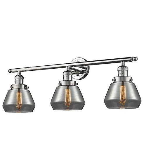 Fulton Polished Nickel Three-Light LED Bath Vanity with Smoked Sphere Glass