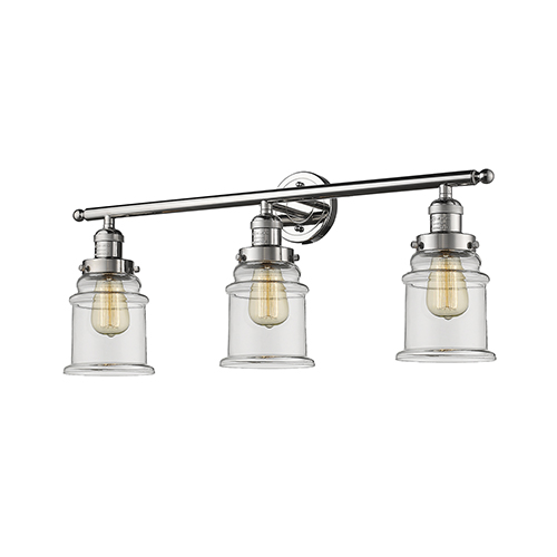 Innovations Lighting Canton Polished Nickel Three-Light LED Bath Vanity with Clear Bell Glass