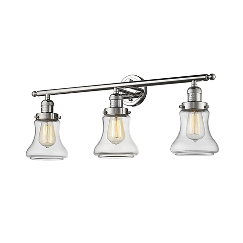 Innovations Lighting Bellmont Polished Nickel Three-Light Bath Vanity with Clear Hourglass Glass