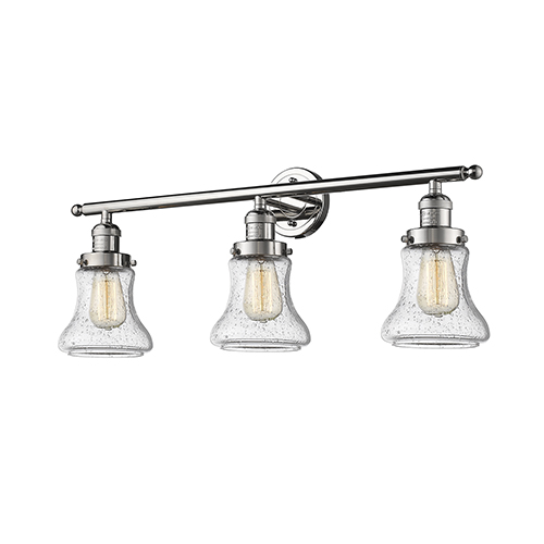 Innovations Lighting Bellmont Polished Nickel Three-Light Bath Vanity with Seedy Hourglass Glass