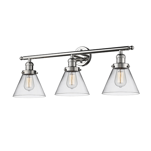 Large Cone Polished Nickel Three-Light LED Bath Vanity with Clear Cone Glass