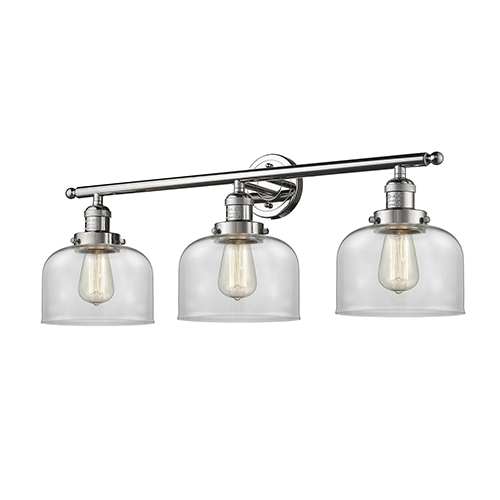 Innovations Lighting Large Bell Polished Nickel Three-Light Bath Vanity with Clear Dome Glass