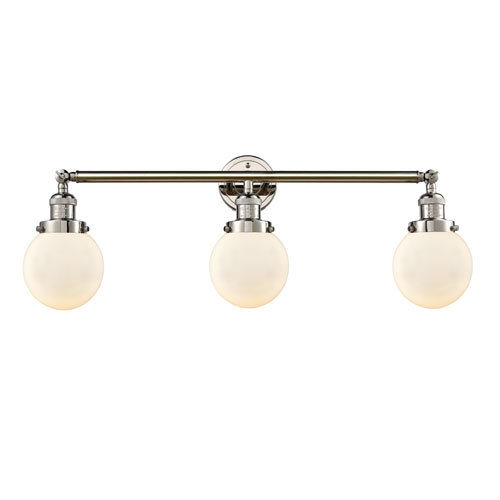 Innovations Lighting Beacon Polished Nickel Three-Light LED Bath Vanity with Six-Inch Matte White Cased Globe Glass