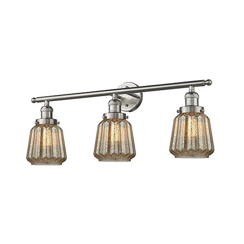 Innovations Lighting Chatham Brushed Satin Nickel Three-Light Bath Vanity with Mercury Fluted Novelty Glass