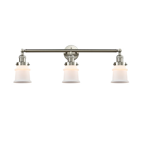 Franklin Restoration Brushed Satin Nickel 10-Inch Three-Light Bath Vanity with Matte White Small Canton Shade