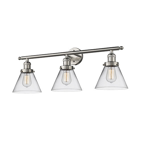 Innovations Lighting Large Cone Brushed Satin Nickel Three-Light Bath Vanity with Clear Cone Glass