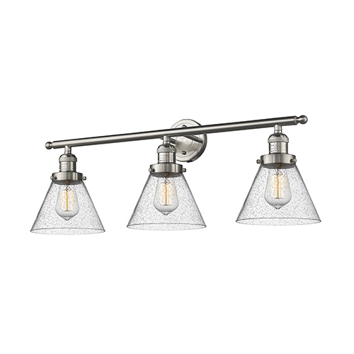 Innovations Lighting Large Cone Brushed Satin Nickel Three-Light Bath Vanity with Seedy Cone Glass