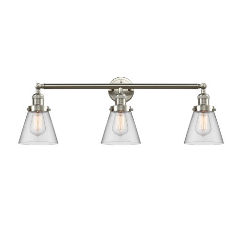 Franklin Restoration Brushed Satin Nickel 30-Inch Three-Light Bath Vanity with Clear Small Cone Shade