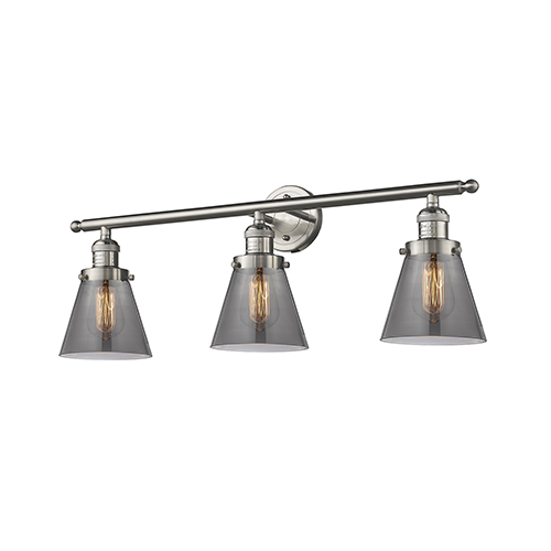 Innovations Lighting Small Cone Brushed Satin Nickel Three-Light LED Bath Vanity with Smoked Cone Glass