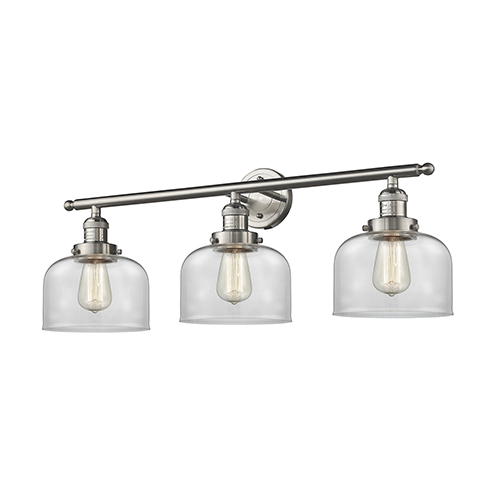 Innovations Lighting Large Bell Brushed Satin Nickel Three-Light LED Bath Vanity with Clear Dome Glass