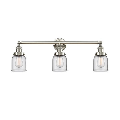 Innovations Lighting Small Bell Brushed Satin Nickel Three-Light Reversible Bath Vanity with Clear Bell Glass